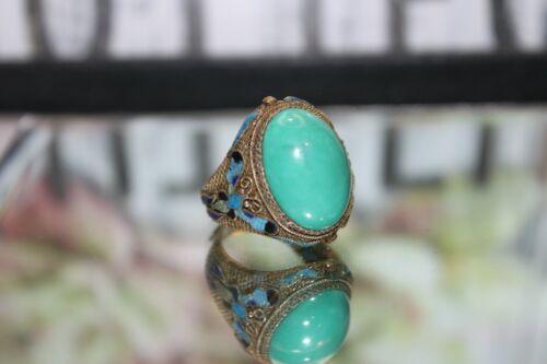 Art Deco Vintage Chinese Natural Turquoise 800 Silver Filigree & Enamel Ring