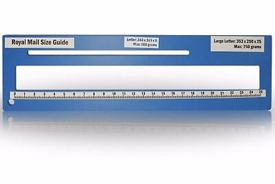 Royal Mail PPI Letter Size Guide Ruler Post Office Postal Price Postage in Blue.