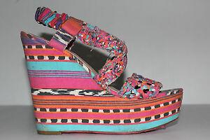 Betsey Johnson Busta Tribal Wedges Sandals 9.5 Bright Nicki Minaj Funky Neon Hot