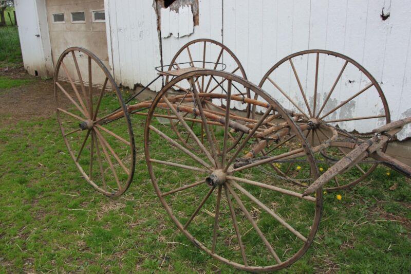 Horse Drawn Four Wheel Racing Buggy Wagon Carriage Sleigh Cart Antique