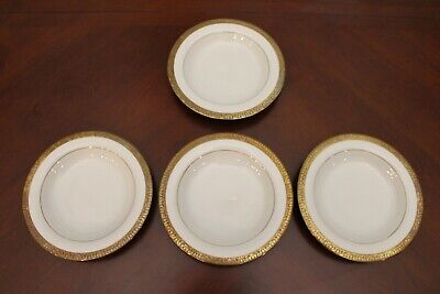 Set of 4 Royal Gallery Gold Large Rim Soup Bowl Plates 9