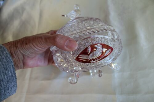Vintage Hofbauer Crystal Dish Ruby Bird Collection Footed & Covered Germany