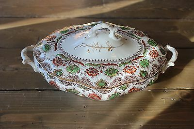 Antique Dunn Bennett CORONATION Imperial Semi Chine Serving Bowl with Lid ()