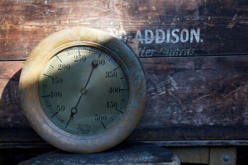 Antique Brass Steam Railroad Train Gauge-Ashton Valve Co. Boston, MA Steampunk