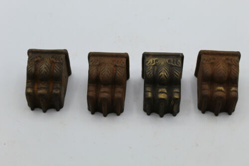 (4) VTG Plated Duncan Phyfe Furniture Leg End Toe Cap Lion Foot Claw