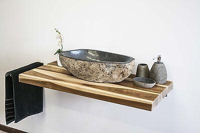 Holzplatte Waschtisch Teakholz Bad Platte für Aufsatzbecken massiv 100x50x5cm