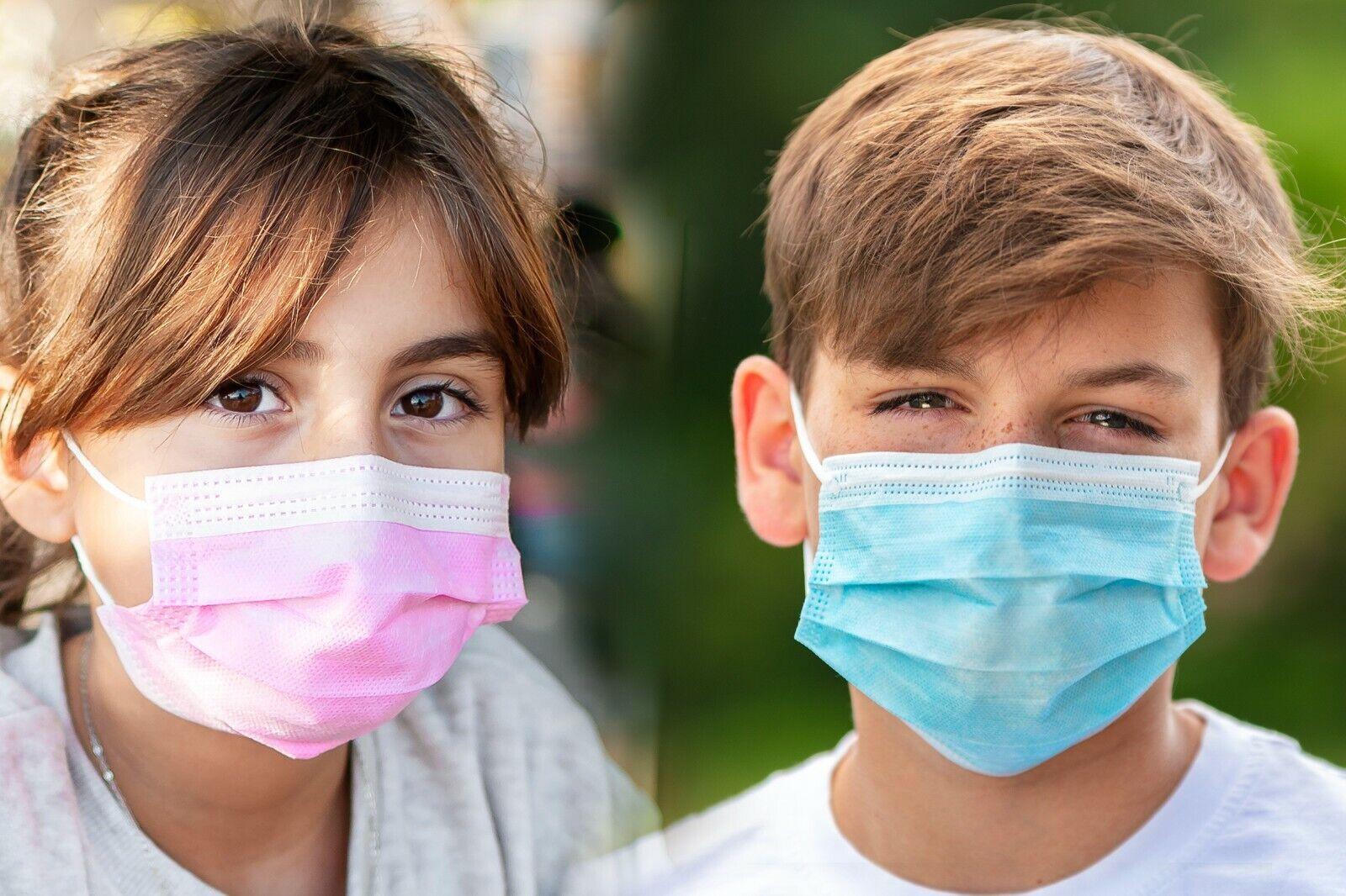 100x Masken Kinder Mund-Nasen-Schutz 3-lagig Mundschutz Gesichtsmaske OP CE