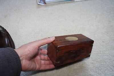 """Antique/Vintage Huali hard wood Box/Incense Burner -5-7/8""""L x3""""W x2-5/8""""H"""