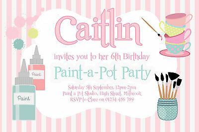 Paint Party Invitations (10 PERSONALISED PAINT A POT PARTY INVITATIONS - GIRLS  OR BOYS BIRTHDAY)