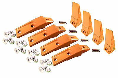 4 - Bobcat Style Skid Steer Bucket Teeth W Bolt On Shanks Pins Hardware
