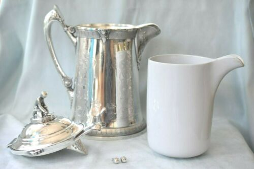 Massive Antique Reed & Barton Iced Water ICE SKATER BOY Silver Plate Pitcher