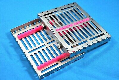 German 1 Dental Autoclave Sterilization Cassette Box Tray For 10 Instrument-pink
