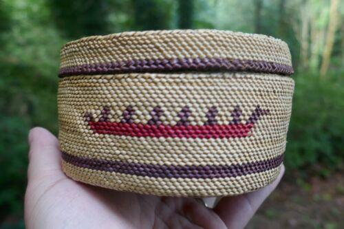 Vintage Nootka Native Tribal Fine Woven Cabinet Basket - Canoe & Bird design