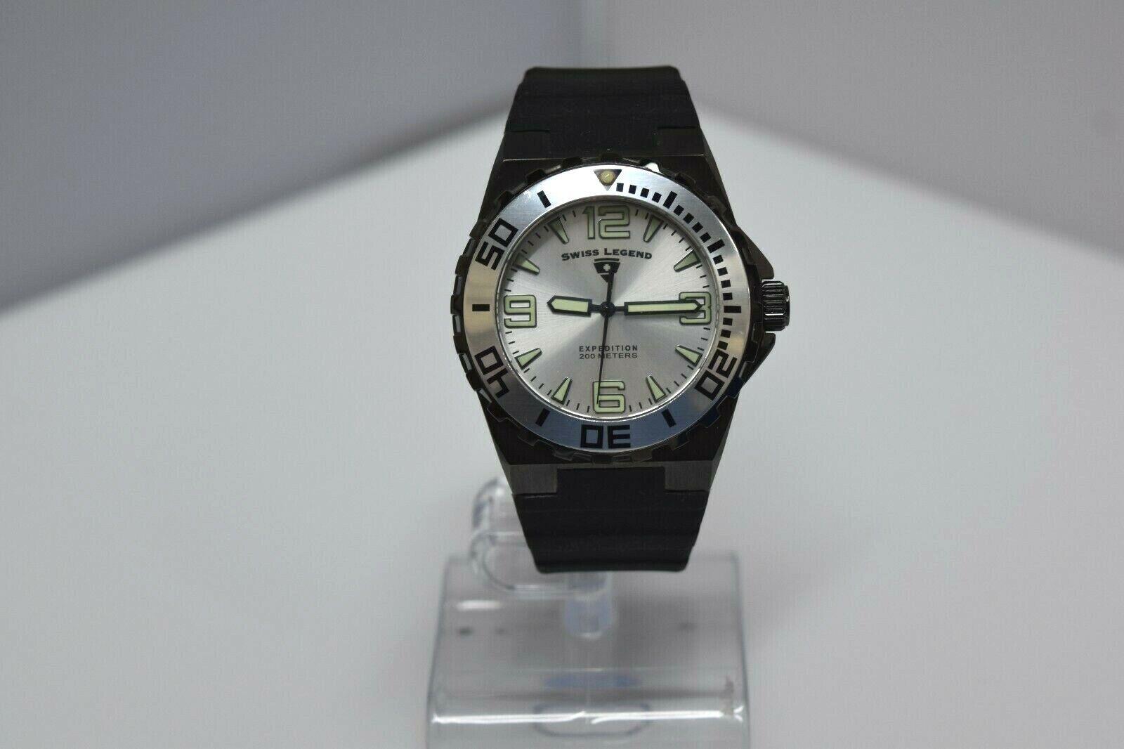 Swiss Legend Expedition Sapphitek 48mm 200M SL-10008 Watch Black/Black/Silver