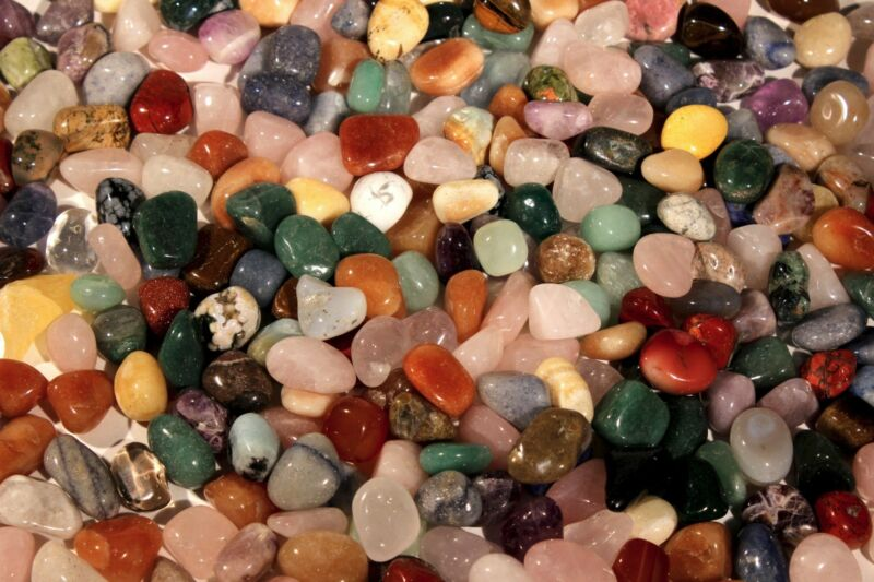 "11 lbs Tumbled Polished Gem Stones-5/8-7/8"" Over 1800 pcs WholesaleLot-$.05 each"