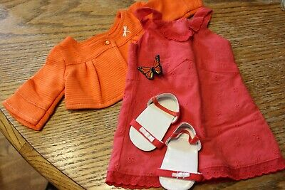 Diva American Girl Doll Lot EUC Lanie Complete Butterfly outfit Hair clip Dress