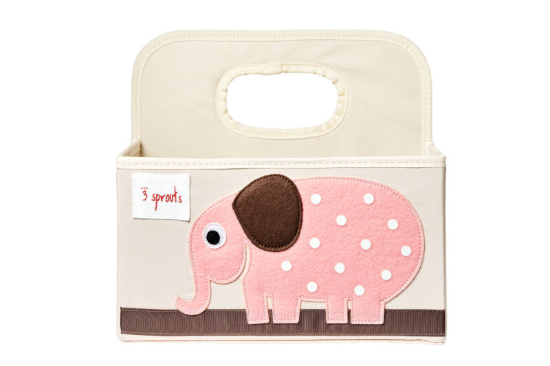 3 Sprouts Baby Diaper Caddy - Organizer Basket for Nursery, Elephant