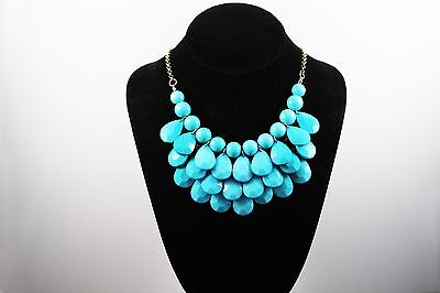 Fashion Briolette Teardrop J Bead Bubble Bib Statement Crew Necklace on Rummage
