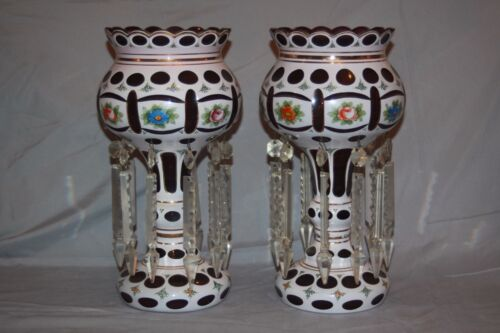 Mantle Lustres Pair BOHEMIAN CZECH GLASS RARE White Cut to PURPLE Luster