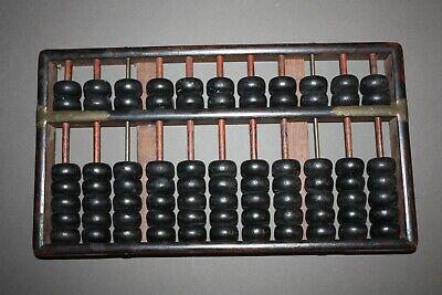 VINTAGE 11 ROW 77 BEAD DARK WOOD CHINESE ABACUS