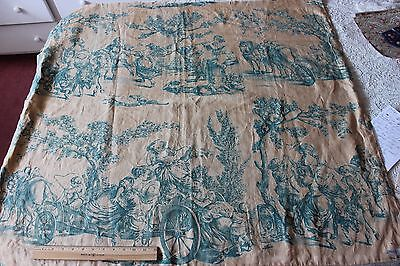 Antique French Silk & Linen Printed Toile Textile Fabric~c1900