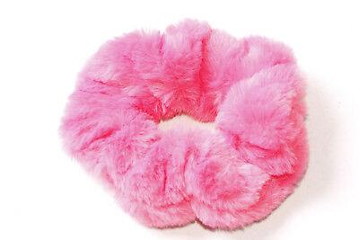 Trendy Everyday Soft Fluffy Large&Wide Bubblegum Pink Elastic Scrunchie (S580)