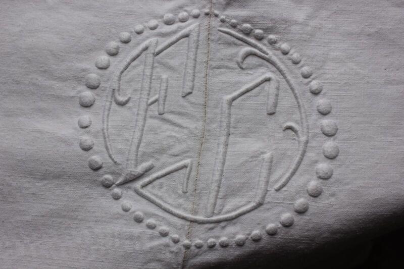 Antique French linen sheet trousseau 109X84 inches MB or FC monogram textile