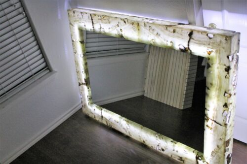 Green/Onyx Onyx Stone Mirror Handcarved BEAUTIFUL & UNIQUE !