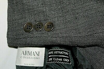 ARMANI COLLEZIONI 44L Made in Italy Gray Wool Blend 1/2 Lined 3B Blazer Jacket