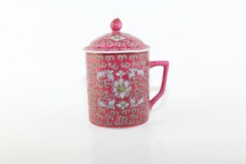 Pink Floral Chinese Mun Shou Rose Porcelain Tea Coffee Mug Cup With Lid