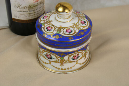 Antique french sevres porcelain marked bonbonniere box floral decor