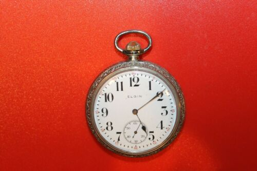 1915 ELGIN Model 3 grade 293 16s 7j SILVEROID CASE POCKET WATCH WORKING
