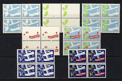 1949 USA Christmas Seal Progressive Proofs BLOCKS (7) . Mint Never Hinged