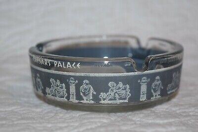 Vintage Caesars Palace Ashtray Las Vegas Hotel Glass Round Blue/Gray & White