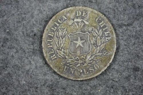 1875 - Republica de Chile SANTIAGO CHILE UN PESO SILVER COIN!!  #J09582