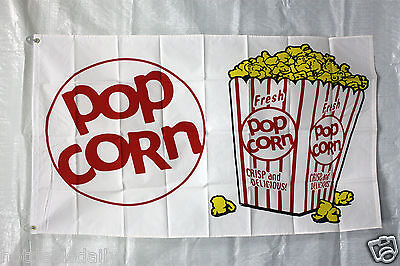 Popcorn Flag 3x5 Banner Store Concession Business Advert Free Shipping