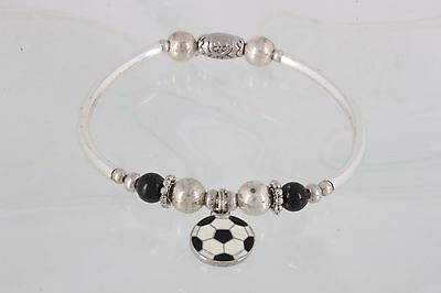 COSTUME SILVERTONE & BLACK BEADED BRACELET W/ SOCCER BALL CHARM FASHION 4469B - Soccer Ball Costume