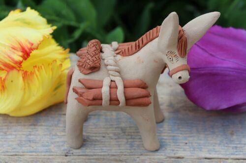 #1 Small Donkey Burro & Fire Wood Handmade Clay Atzompa Oaxaca Mexican Folk Art