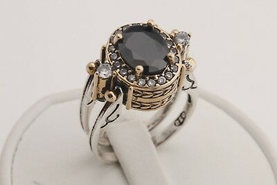Topaz Onyx - Turkish Reversible Oval Amethyst and Black Onyx Topaz 925 Sterling Silver Ring
