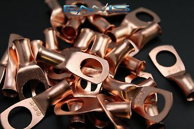 4 GAUGE COPPER 1/2 RING 10 PK CRIMP TERMINAL CONNECTOR AWG GA CAR EYE CUR412