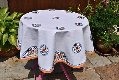 Vintage round embroidery linen table cloth 48