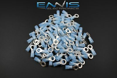 14-16 Gauge Nylon Ring 10 Connector 50 Pk Blue Crimp Terminal Awg Car Suv