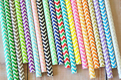 Chevron Party Supplies (Chevron Paper Straws 25pc partyware colorful wedding birthday party supplies)
