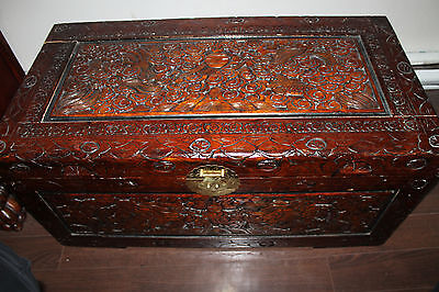 Rare Antique Very Large Chinese Camphor Wood Hand Carved Emperor Dragon Chest