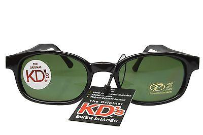 KD's Sunglasses Original Biker Shades Motorcycle Black Dark Green Lens (Dark Green Sunglasses)
