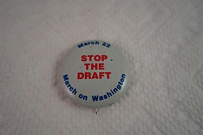 VINTAGE NOS 1960'S ANTI-VIETNAM - STOP THE DRAFT MARCH ON WASH - BUTTON PIN-BACK