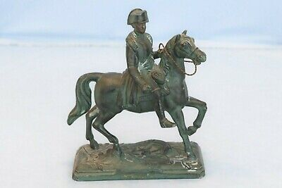 Vintage Metal Statue France Emperor Napoleon on Horse Waterloo War Battle