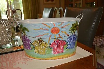 Beverage Party Tub Oval 2 Handles Metal + Colorful graphics Palms Tropical Shirt