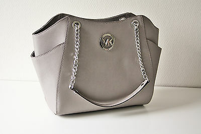 b5ccf6904da74 MICHAEL KORS TASCHE BAG JET SET TRAVEL LG CHAIN TOTE Saffiano Leder grey  grau