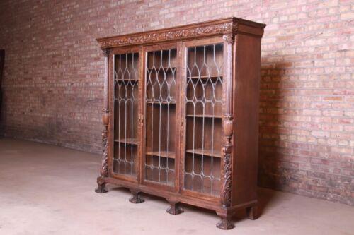 19th Century Ornate Carved Oak Leaded Glass Triple Bookcase